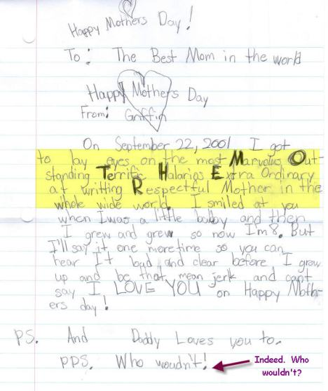Griffin's Mother's Day Letter 2010