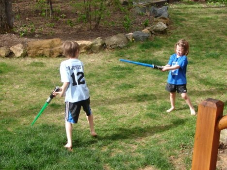 Kids sword fighting